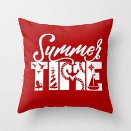 Summer TIME Nautical Solid Red, Seagull, Lounge Chair, Lighthouse, Anchor, Rope, Compass, Sail Boat Throw Pillow
