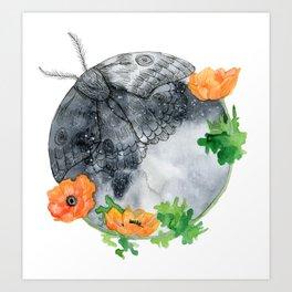 Moth & Moon Art Print