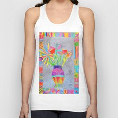 Flower Vase | Kids Painting | 3D Collage Unisex Tank Top