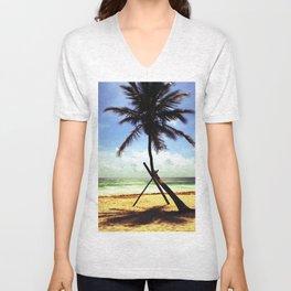 Palm on the beach. Unisex V-Neck