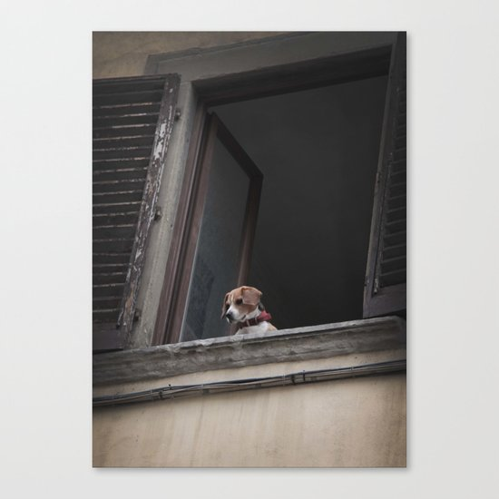 take me with you _ Beagle in a window Canvas Print