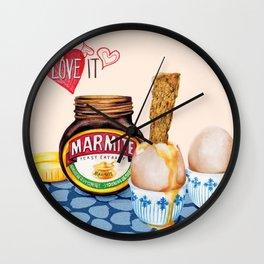 Marmite Watercolour food illustration Wall Clock