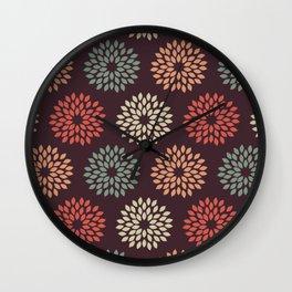 Retro disco flower pattern Wall Clock