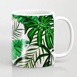 Tropical Jungle Leaf Pattern Green White Coffee Mug