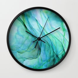 Sea Green Flowing Waves Abstract Ink Painting Wall Clock