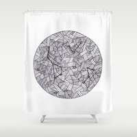 constellation Shower Curtains featuring Constellation by Inked in Red