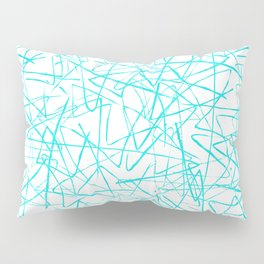 Ink Drawing Pattern, Teal Scribbles Pillow Sham