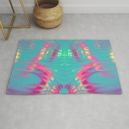 Rorschach Rainbow, Turquoise and Pink Rug