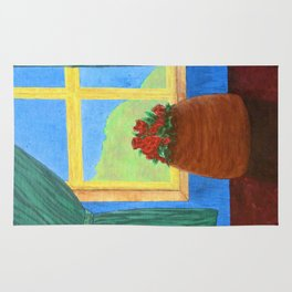 Roses in the Window Rug