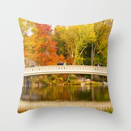 Bow Bridge at Central Park Throw Pillow