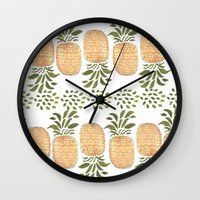 pineapples Wall Clocks featuring Pineapples by Bouffants and Broken Hearts
