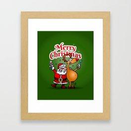 Merry Christmas - Santa Claus and his Reindeer Framed Art Print