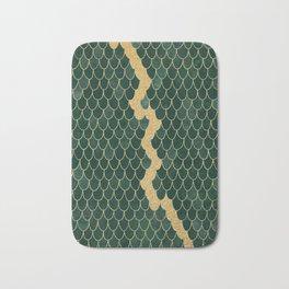 Mermaid Fin Gold Streak // Emerald Green Glittery Scale Watercolor Gradient Bedspread Home Decor Bath Mat