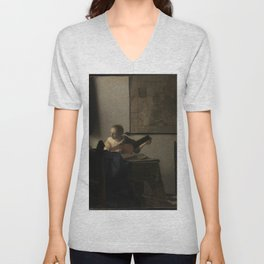 Johannes Vermeer - Woman with a Lute Unisex V-Neck