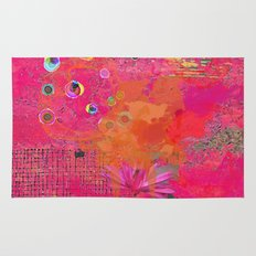 Hot Pink & Orange Abstract Art Collage Rug