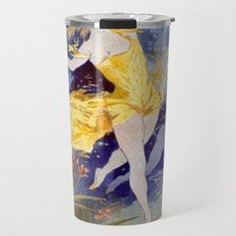 Folies Berg Res Fleur De Lotus 1893 By Jules Cheret   Reproduction Art Nouveau Travel Mug