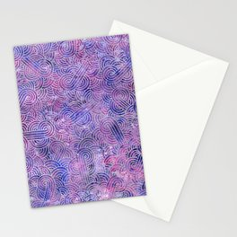 Purple and faux silver swirls doodles Stationery Cards