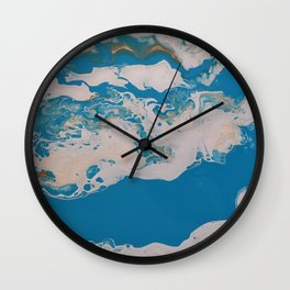 Turquoise Blue Fluid Liquid Art White Abstract Cloud look Wall Clock