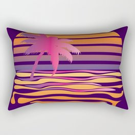 Retro striped sun and palm Rectangular Pillow