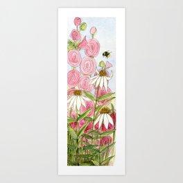 Pink Hollyhock and White Coneflower Garden Flowers Art Print