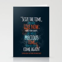 """picard Stationery Cards featuring """"Live now; make now always the most precious time. Now will never come again"""" Captain Picard by Elizabeth Cakovan"""