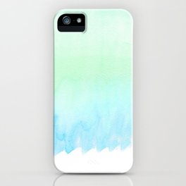 Hand painted turquoise teal blue watercolor ombre brushstrokes iPhone Case