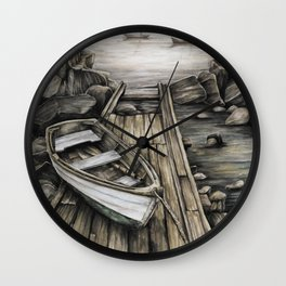Old Boat on the Dock Wall Clock
