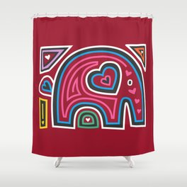 Mola Elephant (Red) Shower Curtain