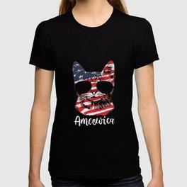 Cute Cat America Usa Flag 4 Th July T-shirt