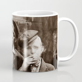 Newsboys Smoking - 1910 Child Labor Photo Coffee Mug