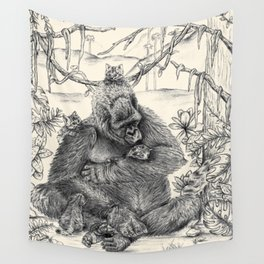 Koko Love Graphite Drawing Wall Tapestry