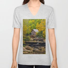 Image USA Streams Glade Creek Grist Mill, Babcock State Park, West Virginia Autumn Nature Watermill brook Stream Creeks water mill Unisex V-Neck