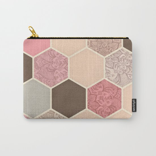 Caramel, Cocoa, Strawberry & Cream Hexagon & Doodle Pattern Carry-All Pouch
