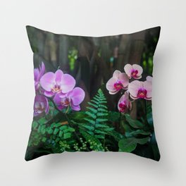 Orchid Leafy Orchid Throw Pillow