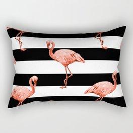 Simply Flamingo Deep Coral on Midnight Black Stripes Rectangular Pillow