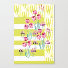 Tulips with yellow stripes Canvas Print