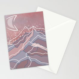 Moon and mountains Stationery Cards