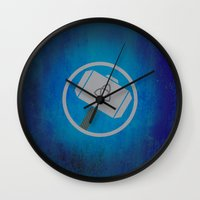 thor Wall Clocks featuring Thor by Some_Designs