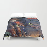 hiccup Duvet Covers featuring Dragon Trainer by Sergio Mancinelli