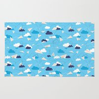 airplanes Area & Throw Rugs featuring Paper Airplanes by Polita