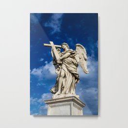 Angel with the cross on the Ponte Sant'Angelo over the Tiber Metal Print
