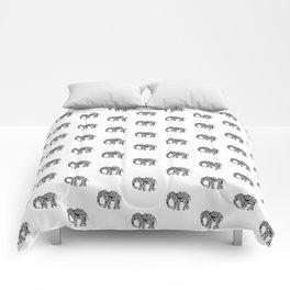 Elephant Flourish in Black Comforters