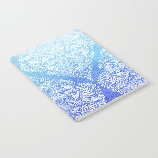 Out of the Blue - White Lace Doodle in Ombre Aqua and Cobalt Notebook