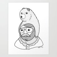 hats Art Prints featuring On how baby bears are often used as winter hats by Michael C. Hsiung