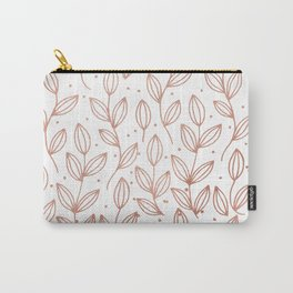 Modern elegant rose gold floral polka dots Carry-All Pouch