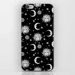 Linocut black and white sun moon and stars outer space zodiac astrology gifts iPhone Skin