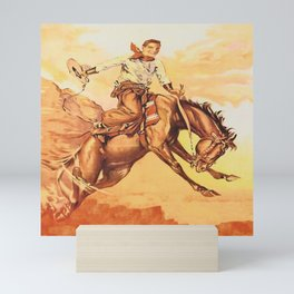 Vintage Western Cowboy On Bucking Horse Mini Art Print