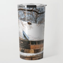 Old Romanian Cottage covered in snow Travel Mug