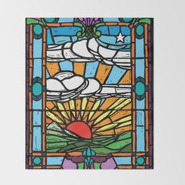 Sunrise Stained Glass Window Throw Blanket