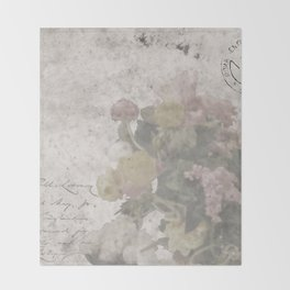 Floral Vintage Postcard bouquet of flowers Throw Blanket